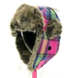 D & Y Pink Plaid Fur Lined Trapper Hat Womens OSFM